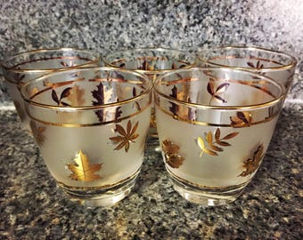 Vintage Mid-Century Set of 5 Frosted Libbey Gold Leaf Tumblers Water Juice Glasses Lowball Barware