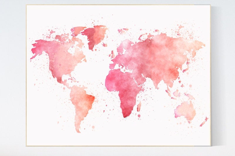 Watercolor world map pink nursery wall art nursery print for World map wall print
