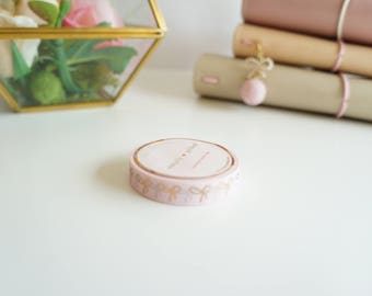 Pink and rose gold SKINNY bow washi tape