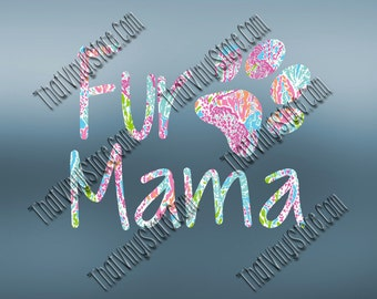 Preppy Pattern Fur Mama Decal | Pet Mom | Truck and Car Vinyl Decals | Fur Baby Decal | Dog Decal | Cat Decal | Yeti Tumbler | MacBook | 388
