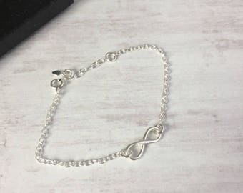 Sterling Silver Infinity Bracelet/Infinity/Chain Bracelet/Minimal/Silver/Adjustable/Gift/Everyday/Boho/Beach/Festival/Summer/Bridal/UK