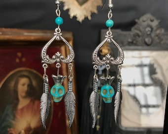skull turquoise and feathers dreamcatcher earrings