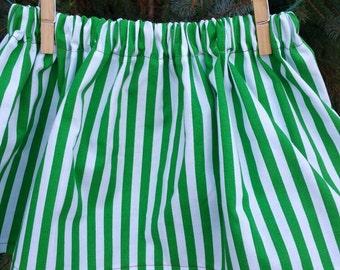Christmas Skirt, Green Stripes Skirt, Christmas Outfit, Santa Skirt, Gift for Girls, St Patricks Day Outfit, Irish Skirt, St Patricks Skirt