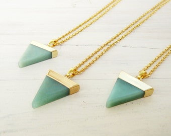 Aventurine Triangle Necklace Green Aventurine Necklace Long Adventurine Necklace Natural Aventurine pendant Healing  Necklace Green Stone