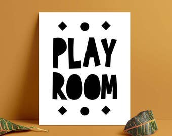 Play Room Print, Kids Wall Art, Kids Room Decor Black and White, Play Room Printable, Kids Room Decor, Kids Nursery Wall Art (W0152)
