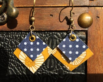 Original earrings in yellow and blue fabric