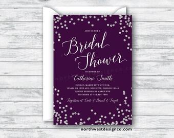 Purple Silver Bridal Shower Invitation Invite Plum Silver Bling Wedding Shower Invitation 5x7 Digital File or Printed Invites