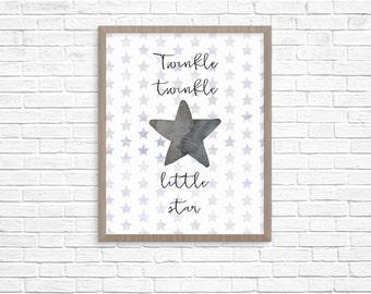 Twinkle twinkle little star -- Nursery Print -- Instant Download Digital File
