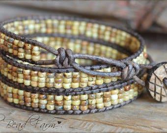 Beaded Wrap Bracelet, Wrap Cuff Bracelet, Casual Wrap Bracelet, Natural Boho Wrap Bracelet, Leather Wrap Bracelet, Triple Wrap Boho Bracelet