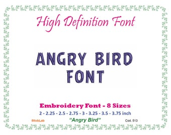 Embroidery font Engry Birds 12 size DST