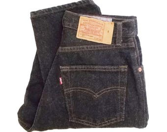 Vintage Levis 901 Jeans Womens USA Made 90s Charcoal Dark Grey Tapered Leg High Waist W28 L33