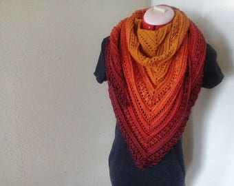 Who is afraid of red orange and yellow Crochet shawl wrap  stole  poncho in 100farbspiele Unikat yarn Ready to Ship