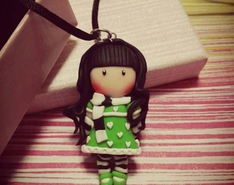 A brooch, necklace or Keychain dolls made of fimo Brooch, necklace or Key Chain Dolls polimer clay