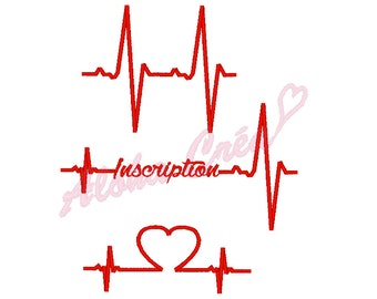 Machine embroidery designs pack cardiac rhythm heart beat - 3 models - 3 sizes - instant download