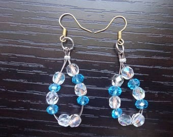 Blue and Clear Bead Earrings Accessories