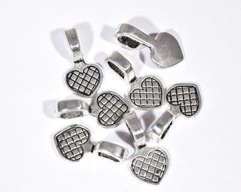 10 Glue On Bails - Heart Shaped Glue On bails - Silver Bail Pendants - Silver Pendant Bails - Silver Charm Bails - Cabochon Backings - SC735