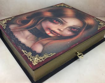 Distressed Lockable Gothic First Blood Vampire Fledgling, Book Trinket Box