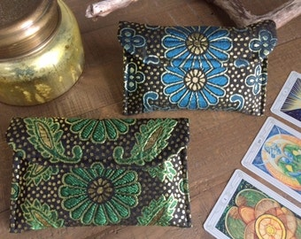 Gold Metallic Flower Tarot Wallet, Green or Blue Option, Tarot Deck, Tarot Bag, Gift for Tarot Reader, Gift for Psychic, Divination