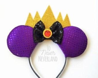 Evil Queen Ears, Snow White Evil Queen Ears, Disney Villain Inspired Ears, Evil Queen Mickey Ears, Snow White Evil Queen Ears PRE ORDER