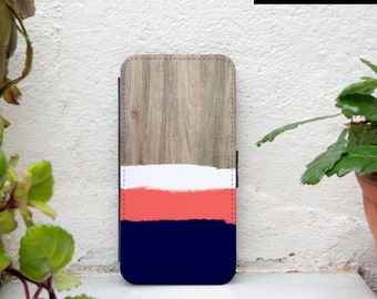 iPhone 6 plus wallet - Available for iPhone 6s plus, iPhone 7 plus, iPhone SE - wood print - brushstrokes - navy, coral iphone wallet case