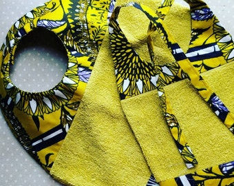 Lot of 2 bibs for baby in wax (African fabric)