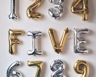 """Number Foil balloon, 16"""" number balloon, silver balloon number, gold number balloon, age balloon, date balloons, number balloons, air filled"""