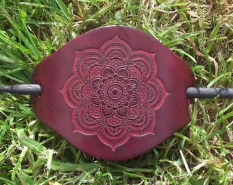 """Leather hair barrette, Lotus-Mandala flower  design, colour """"bordeaux""""(16 colours available)"""
