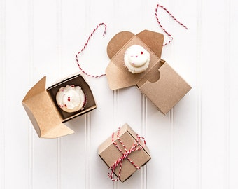 50 Mini Kraft Cupcake Boxes Without Window / 2.5 x 2.5 x 2.5