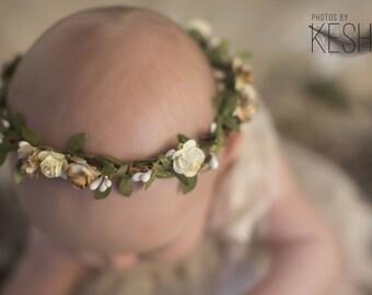 Gold Flower Crown Girls - Flower Crown Wedding - Floral Crown Halo -  Leaf Crown Girls Headband - Flower Hair Greenery - Head Wreath