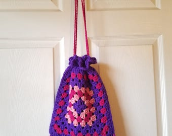 purple & pink crochet granny square drawstring bag / pouch