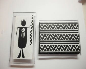 """Two Acrylic-Mounted Rubber Stamps Primitive Native American Southwestern Designs 3.75"""" x 1.5"""" Figure 3.25 x 2.75 Pattern Excellent Condition"""
