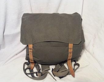 Vintage Yugoslavian Army Green Canvas Backpack - Medium Size