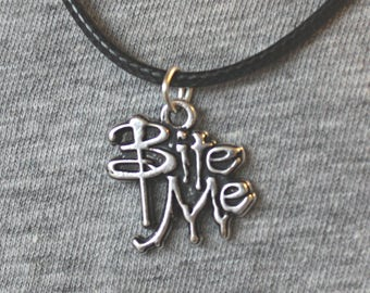 Bite Me! Pendant Necklace - Wax Cord or Silver Chain available