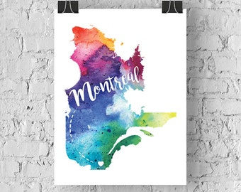 Custom Québec Map Art, Québec Watercolour Heart Map Home Decor, Montreal or Your City Hand Lettering, Personalized Giclee Print, 5 Colours