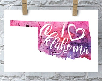 I Heart Oklahoma Map Art Print, I Love Oklahoma Watercolor Home Decor Map Painting, OK Giclee US State Art, Housewarming Gift, Moving Gift