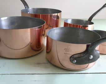 SALE: French Vintage Copper Pots / Les Métaux Ouvrés / Tin Lined / Iron Handled Copper / Everyday Copper / French Copper Cookware / France