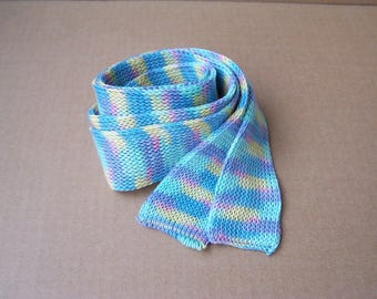 knit skinny shades of blue, seafoam, lavender, pink and yellow colors OOAK cotton necktie