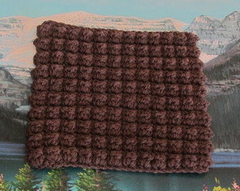 Hand crochet bobble stitch dish cloth 7 by 7.5 CBSDC 009