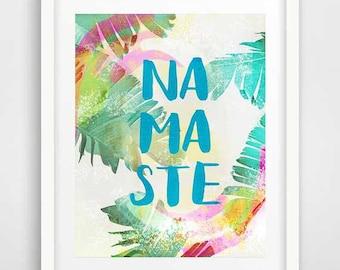 Namaste Wall Art, Cool Posters, Tropical Decor, Namaste Poster, Banana Leaf, Part 74
