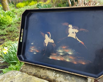 French Black Lacquer Tray / Oriental Birds / Serving Tray / Vintage Tray / French Tray