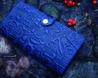 Navy blue leather wallet. Leather bifold wallet. Steampunk emboss. Leather steampunk wallet. Bifold wallet. Bifold steampunk
