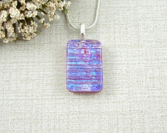 Petite Purple, Blue and Red Dichroic Glass Pendant - Mini Dichroic Necklace - Small Fused Glass Pendant