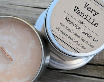 Very Vanilla Soy Candle   6 or 8 Oz. Tins   Wooden or Cotton Wick   Highly Scented   Vanilla Soy   Vanilla Candle   Strong Vanilla Candle
