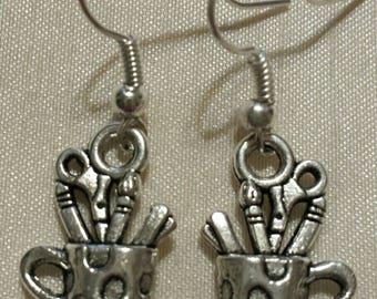 Art Supplies Earrings Tibetan Silver Dangle Handmade Artist Earrings