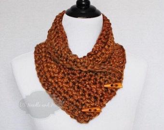 Copper Brown Crochet Scarf, Crochet Button Cowl, Brown Crochet Neck Warmer, Gold Brown Button Scarf, Crochet Wrap, Collar Scarf