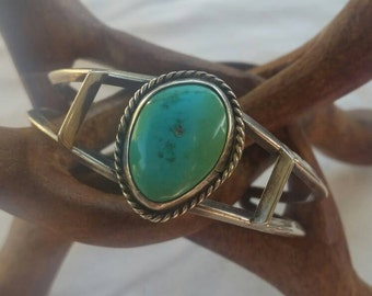 Vintage Sterling and Green Turquoise Cuff