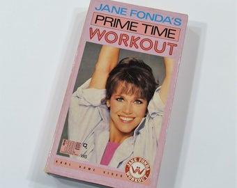 Jane Fonda's Prime Time Workout, VHS Cassette Home Video Workout, 80s Aerobics