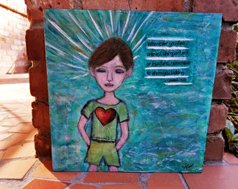 12x12, Mixed Media, Christian Art, Inspirational Art, Cradled Panel, Fine Art, Boy