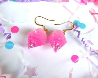 Pink Heart and Star Glitter Resin Diamond Earrings with 14k Gold Plated Hooks Fairy Kei Decora Pastel Kawaii