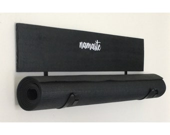 Yoga Mat Holder - Yoga Gift - Yoga Accessory - Yoga Decor - Om - Namaste -  Yoga Mat Rack - Workout Organizer - Workout Room - Yoga Room